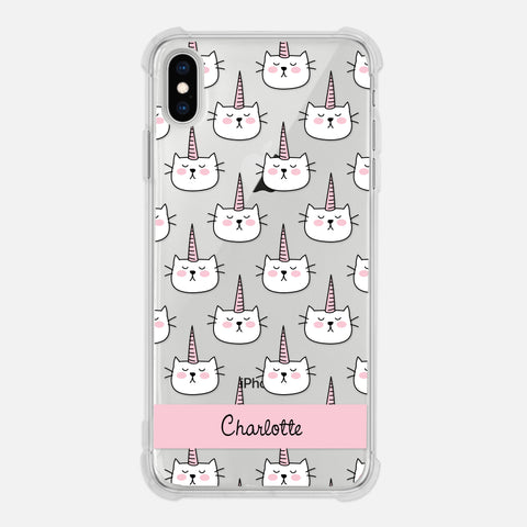 Caticorn Cat Unicorn Pattern PATTCATICORN1 Pink Personalized iPhone Case Clear 6 6s 7 Plus 8 Plus X XR XS Max - By Happy Cat Prints