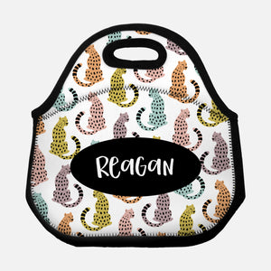 Sitting Cheetah Pattern Rainbow Colorful White Black Personalized Name Lunch Tote Bag Neoprene Insulated Lunch Box for School Work Office Kids Adults Women Men Girls Boys - By Happy Cat Prints