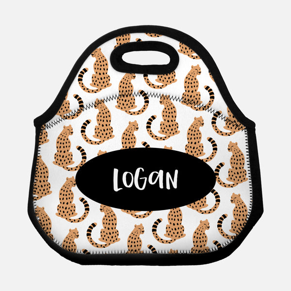 Sitting Cheetah Pattern Orange White Black Personalized Name Lunch Tote Bag Neoprene Insulated Lunch Box for School Work Office Kids Adults Women Men Girls Boys - By Happy Cat Prints