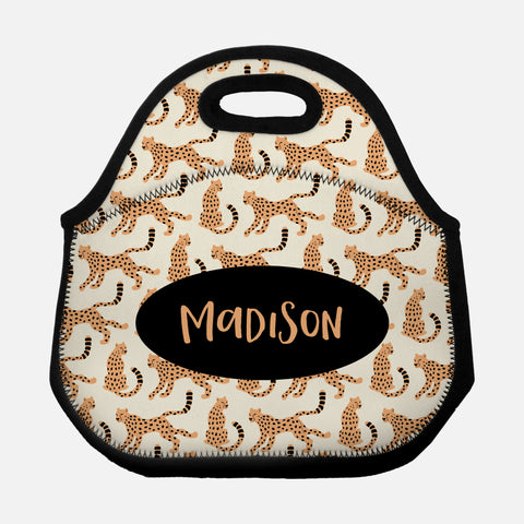 Sitting Running Cheetah Pattern Orange Beige Black Personalized Name Lunch Tote Bag Neoprene Insulated Lunch Box for School Work Office Kids Adults Women Men Girls Boys - By Happy Cat Prints