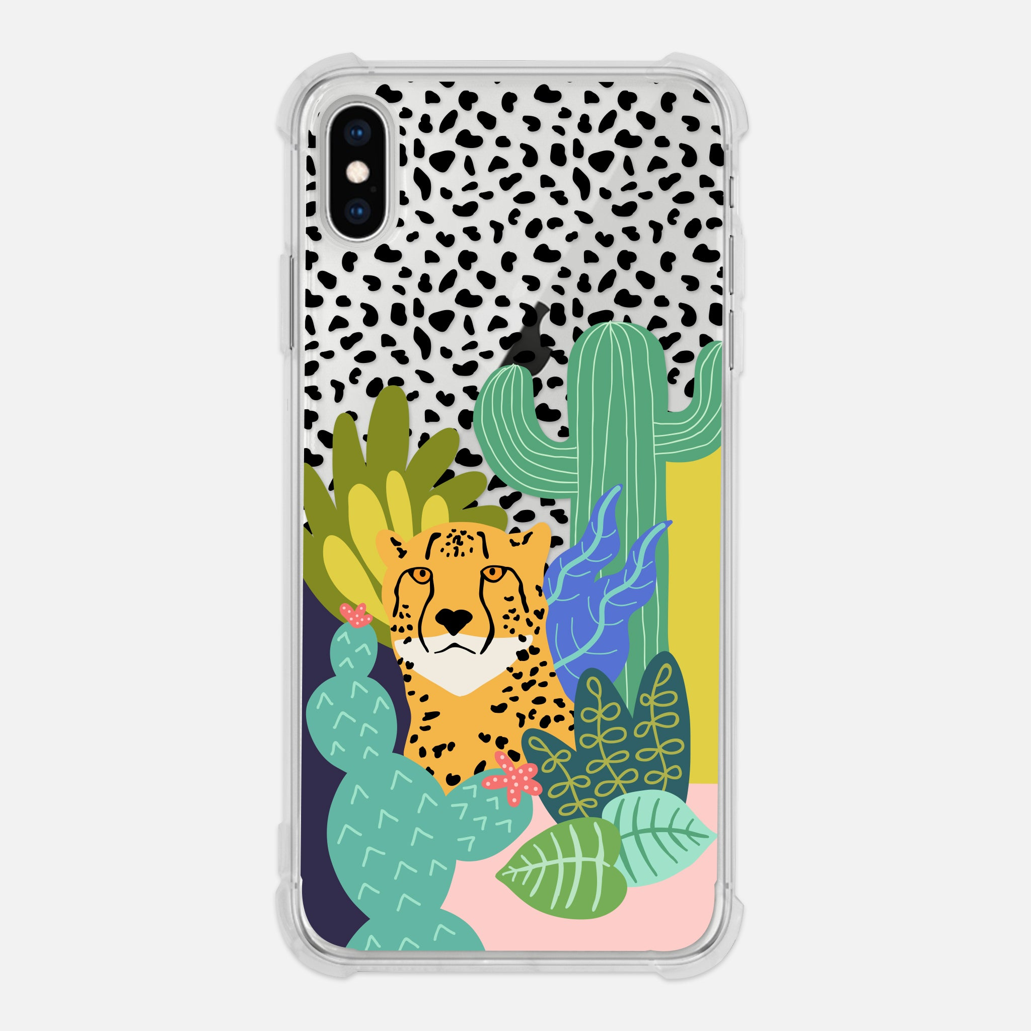 Cheetah Print Safari Animal Cactus Leaves Colorful Trendy Clear iPhone Case for iPhone 11 Pro Max XR XS X 8 7 6 6s Plus - By Happy Cat Prints