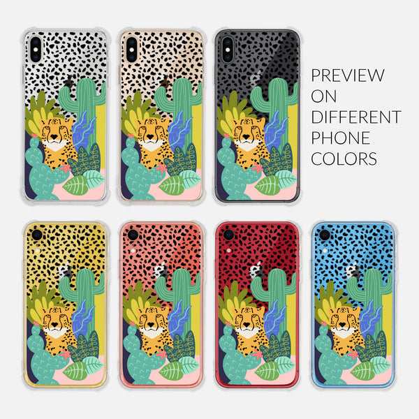 Cheetah Print Safari Animal Cactus Leaves Colorful Trendy - Preview on Different Phone Colors - Silver Rose Gold Black Yellow Coral Red Blue - Clear iPhone Case for 6 6s 7 8 Plus X XR XS Max - By Happy Cat Prints