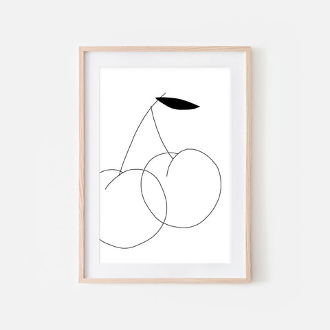 Cherry No 1 Fruit Wall Art - Black and White Line Drawing - Print, Poster or Printable Download