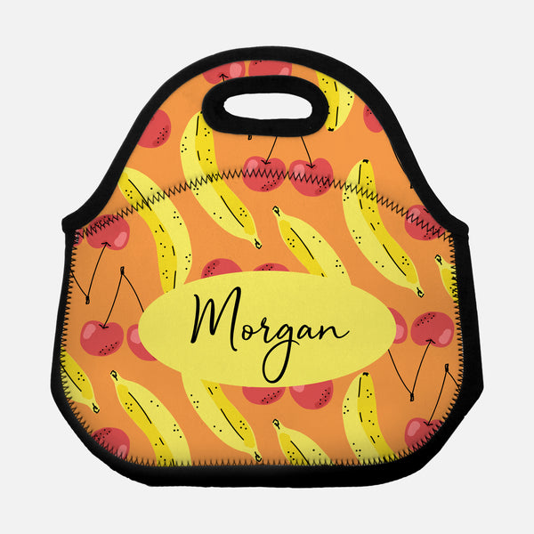 Cherry Banana Fruit Pattern Orange Yellow Red Personalized Name Lunch Tote Bag Neoprene Insulated - By Happy Cat Prints