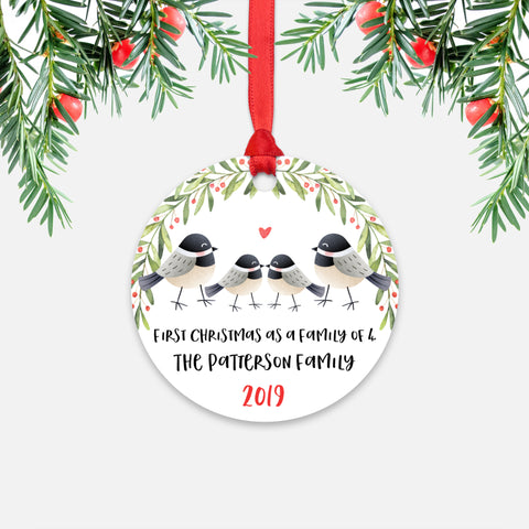 Chickadee Bird Animal First Christmas as a Family of 4 Personalized Ornament for New Baby Girl Boy - Round Aluminum - Red ribbon