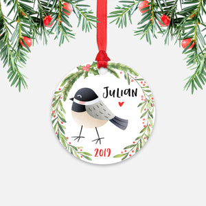 Chickadee Bird Woodland Animal Personalized Kids Name Christmas Ornament for Boy or Girl - Round Aluminum - Red ribbon