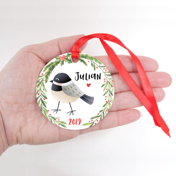 Chickadee Bird Woodland Animal Personalized Kids Name Christmas Ornament for Boy or Girl - Round Aluminum - In hand