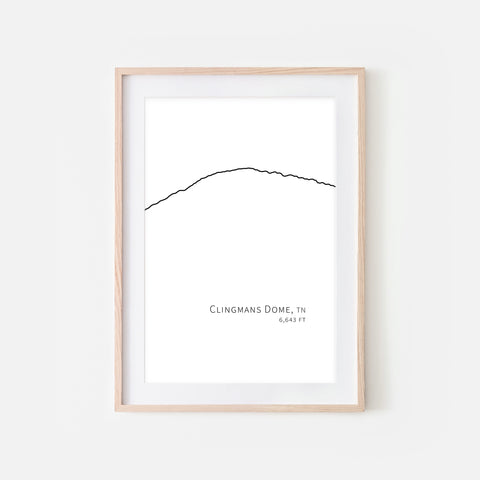 Clingmans Dome Great Smoky Mountains Tennessee TN USA Wall Art Print - Minimalist Peak Summit Elevation Contour One Line Drawing - Abstract Landscape - Black and White Home Decor Climbing Hiking Decor - Large Small Shipped Paper Print or Poster - OR - Downloadable Art Print DIY Digital Printable Instant Download - By Happy Cat Prints