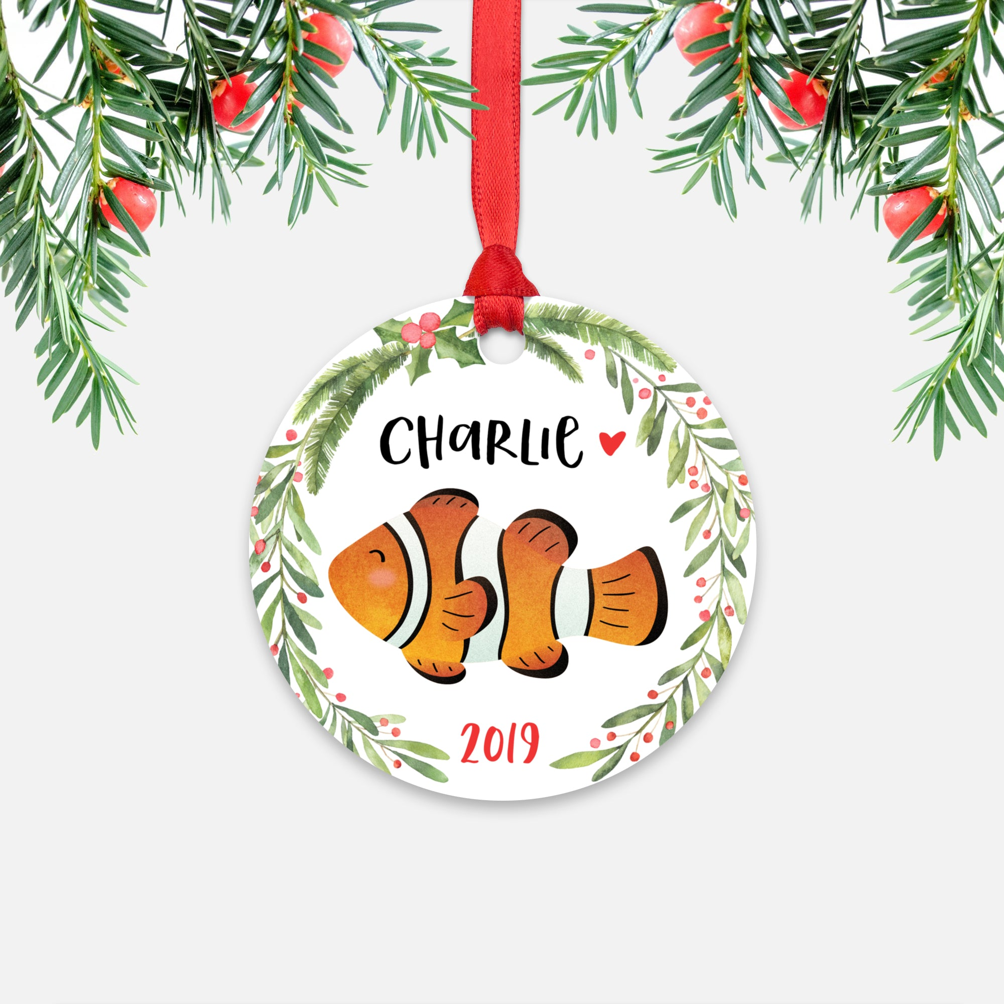 Clownfish Sea Ocean Animal Personalized Kids Name Christmas Ornament for Boy or Girl - Round Aluminum - Red ribbon