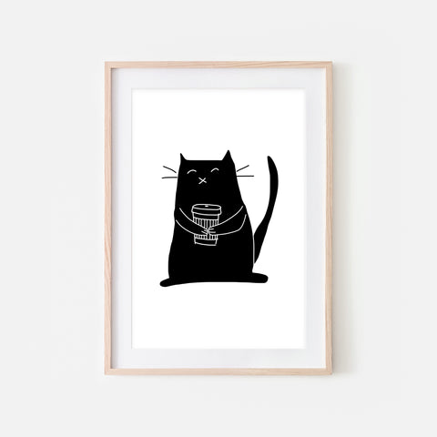 Coffee Lover Black Cat Wall Art - Black and White Line Drawing Illustration - Print, Poster or Printable Download
