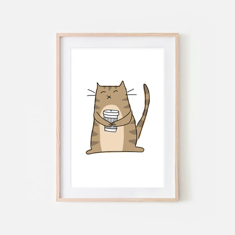 Coffee Lover Brown Tabby Cat Wall Art - Line Drawing Illustration - Print, Poster or Printable Download