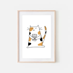 Coffee Lover Calico Cat Wall Art - Line Drawing Illustration - Print, Poster or Printable Download