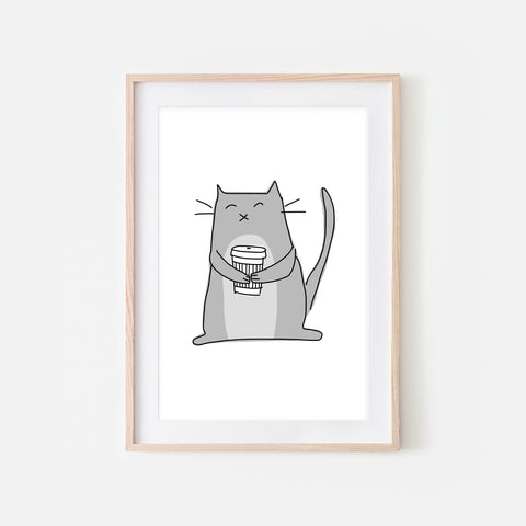 Coffee Lover Gray Cat Wall Art - Line Drawing Illustration - Print, Poster or Printable Download