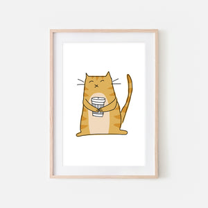 Coffee Lover Orange Tabby Cat Wall Art - Line Drawing Illustration - Print, Poster or Printable Download