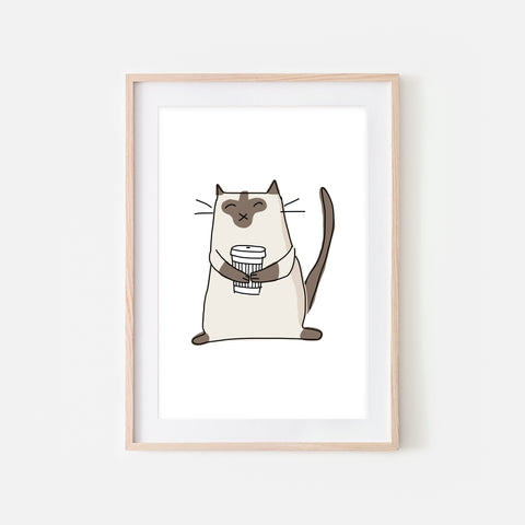 Coffee Lover Siamese Cat Wall Art - Line Drawing Illustration - Print, Poster or Printable Download