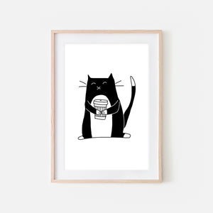 Coffee Lover Tuxedo Cat Wall Art - Black and White Line Drawing Illustration - Print, Poster or Printable Download
