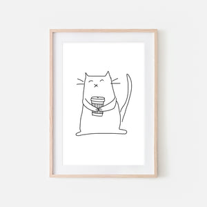 Coffee Lover White Cat Wall Art - Black and White Line Drawing Illustration - Print, Poster or Printable Download