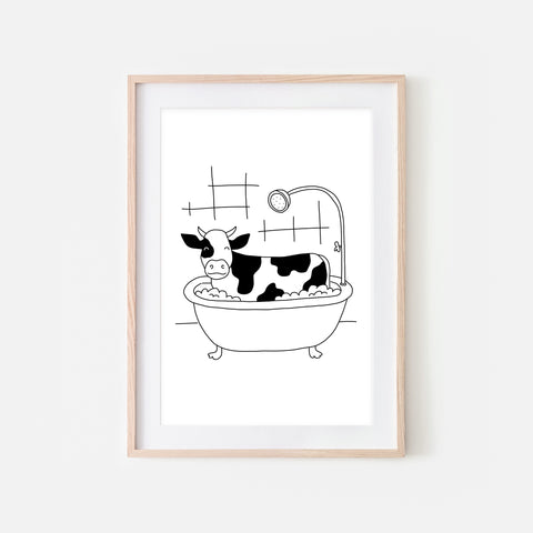 Cow - Farm Animal in Bathtub Wall Art - Funny Bathroom Decor - Black and White Drawing - Downloadable Print
