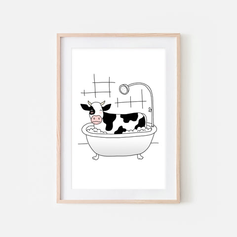 Cow - Animal in Bathtub Art - Funny Farm Theme Bathroom Wall Decor for Kids - Printable Digital Download Illustration