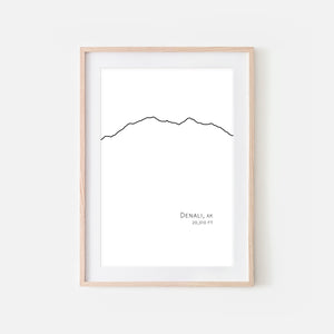 Denali Mountain Denali National Park Alaska AK USA Wall Art Print - Minimalist Peak Summit Elevation Contour One Line Drawing - Abstract Landscape - Black and White Home Decor Climbing Hiking Decor - Large Small Shipped Paper Print or Poster - OR - Downloadable Art Print DIY Digital Printable Instant Download - By Happy Cat Prints