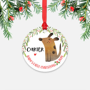 Dog Animal Personalized Baby's First Christmas Ornament for Boy or Girl - Round Aluminum - Red ribbon