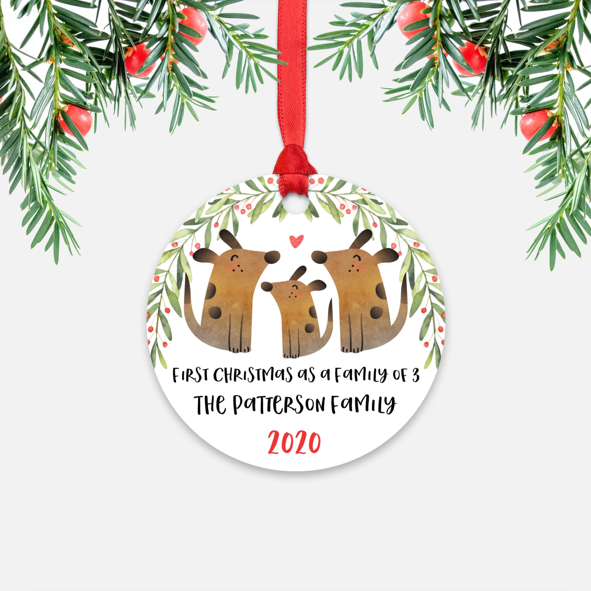 Dog Animal First Christmas as a Family of 3 Personalized Ornament for New Baby Girl Boy - Round Aluminum - Red ribbon