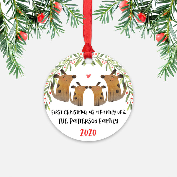 Dog Animal First Christmas as a Family of 4 Personalized Ornament for New Baby Girl Boy - Round Aluminum - Red ribbon