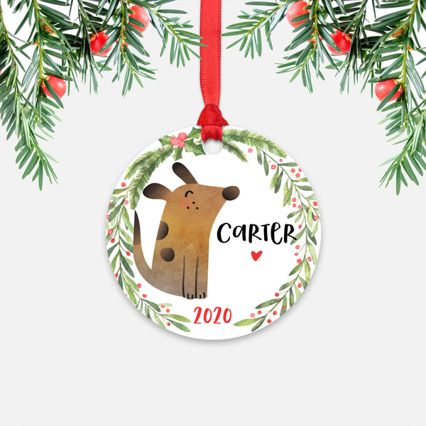 Dog Pet Animal Personalized Kids Name Christmas Ornament for Boy or Girl - Round Aluminum - Red ribbon