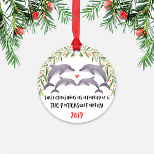 Dolphin Animal First Christmas as a Family of 4 Personalized Ornament for New Baby Girl Boy - Round Aluminum - Red ribbon