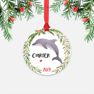Dolphin Sea Ocean Animal Personalized Kids Name Christmas Ornament for Boy or Girl - Round Aluminum - Red ribbon
