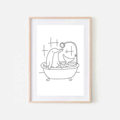 Dolphin - Sea Animal in Bathtub Wall Art - Funny Bathroom Decor - Black and White Drawing - Downloadable Print
