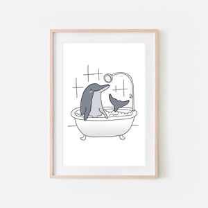 Dolphin - Animal in Bathtub Art - Funny Sea Theme Bathroom Wall Decor for Kids - Printable Digital Download Illustration