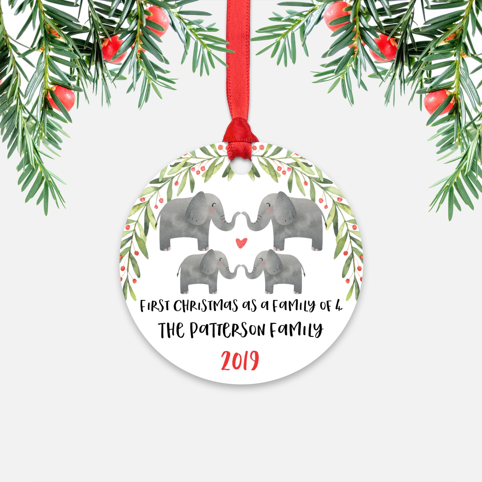 Elephant Animal First Christmas as a Family of 4 Personalized Ornament for New Baby Girl Boy - Round Aluminum - Red ribbon