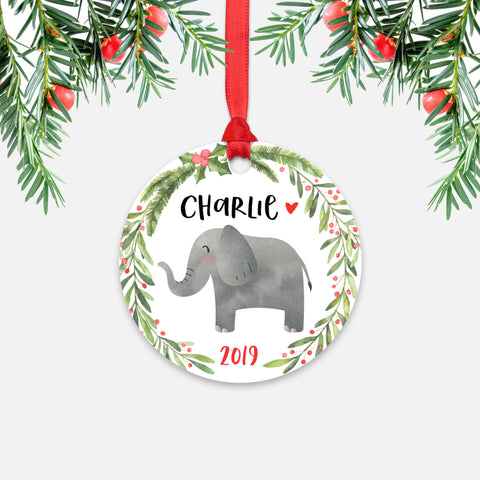 Elephant Safari Animal Personalized Kids Name Christmas Ornament for Boy or Girl - Round Aluminum - Red ribbon