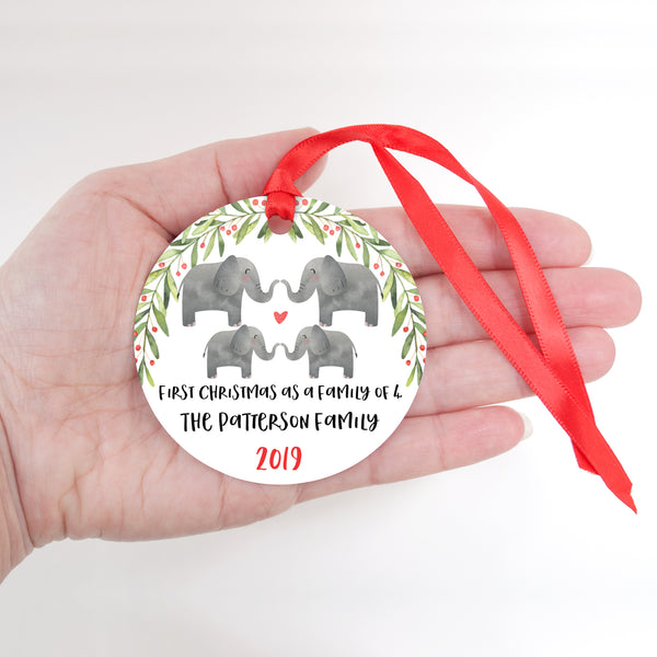 Elephant Animal First Christmas as a Family of 4 Personalized Ornament for New Baby Girl Boy - Round Aluminum - In hand