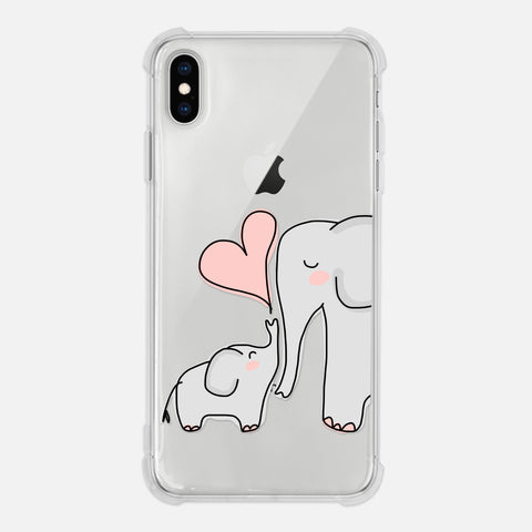 Elephant Mom and Baby Love Pink Heart Cute Elephant Lover Gift Clear iPhone Case for XR XS Max X 8 7 6 6s Plus - By Happy Cat Prints