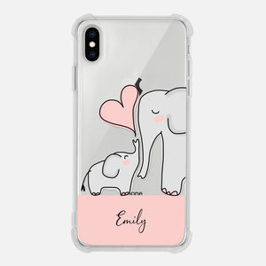 Elephant Mom And Baby Personalized Clear Iphone Case