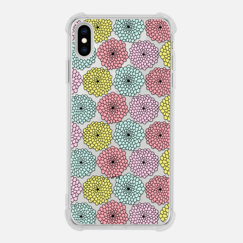 Floral Pattern Flowers Line Drawing Pastel Clear iPhone Case for XR XS Max X 8 7 6 6s Plus - By Happy Cat Prints