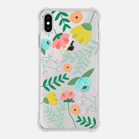 Floral Pretty Cute Wild Flowers Leaves Colorful Nature Illustration Summer Spring Clear iPhone Case for XR XS Max X 8 7 6 6s Plus - By Happy Cat Prints