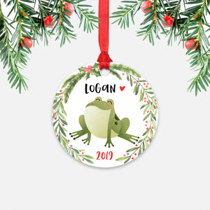 Frog Woodland Animal Personalized Kids Name Christmas Ornament for Boy or Girl - Round Aluminum - Red ribbon