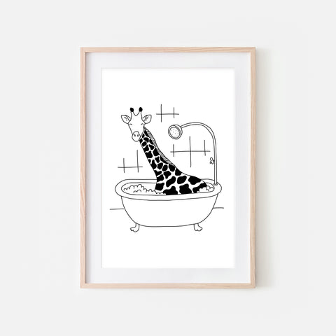 Giraffe - Safari Animal in Bathtub Wall Art - Funny Bathroom Decor - Black and White Drawing - Downloadable Print