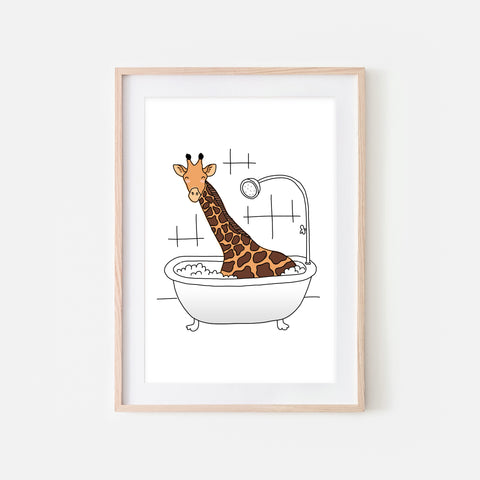 Giraffe - Animal in Bathtub Art - Funny Safari Theme Bathroom Wall Decor for Kids - Printable Digital Download Illustration