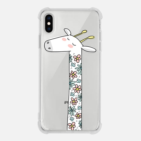 Giraffe Lover Gift Floral Pastel Flowers Cute Clear iPhone Case for XR XS Max X 8 7 6 6s Plus - By Happy Cat Prints