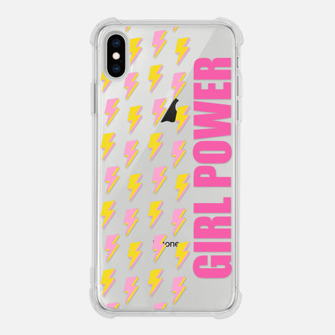 Girl Power Feminist Women Empowerment Lightning Pattern Yellow Pink Clear iPhone Case for XR XS Max X 8 7 6 6s Plus - By Happy Cat Prints