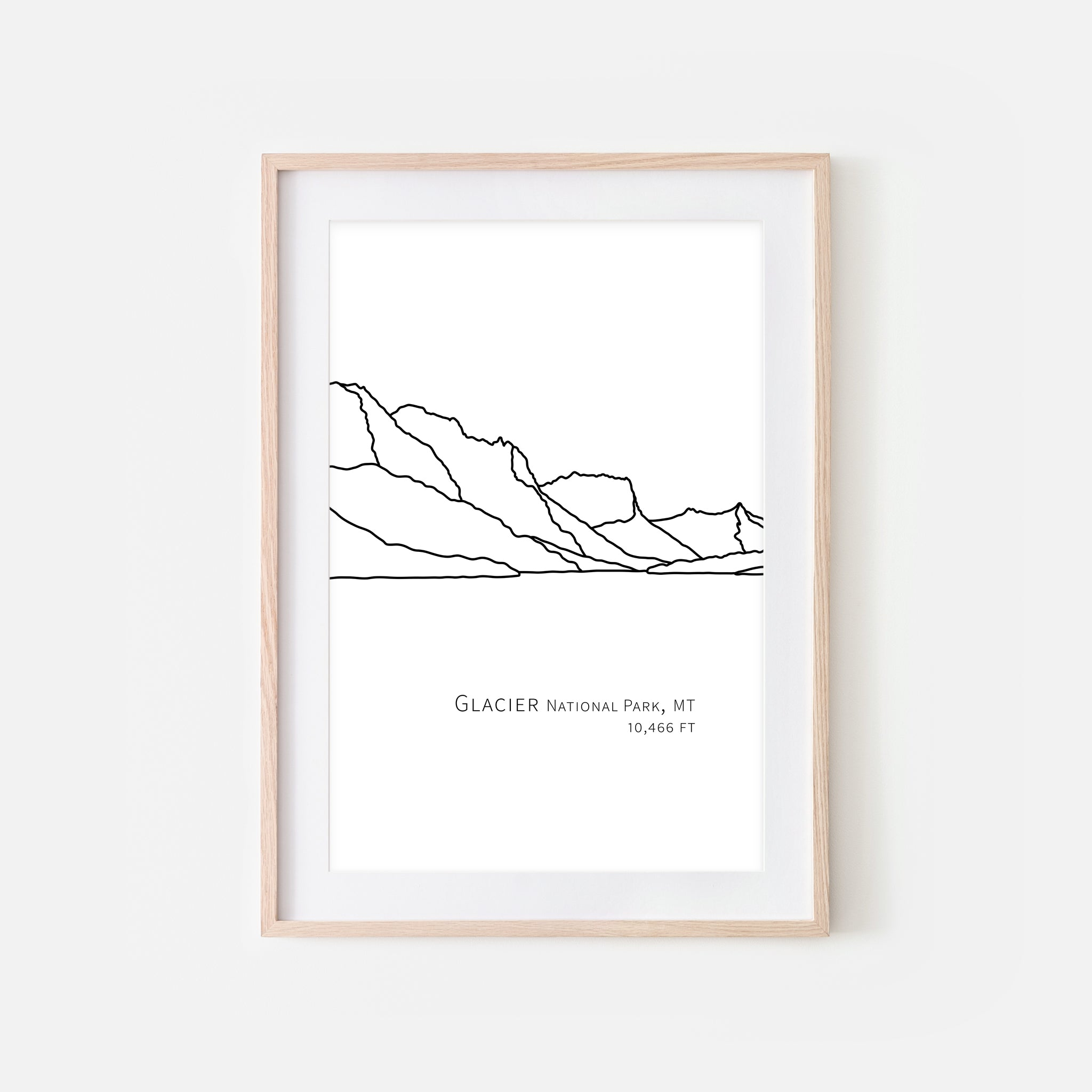 Glacier National Park Montana MT USA Wall Art Print - Abstract Minimalist Landscape Contour One Line Drawing - Black and White Home Decor Mountain Outdoors Hiking Decor - Large Small Shipped Paper Print or Poster - OR - Downloadable Art Print DIY Digital Printable Instant Download - By Happy Cat Prints