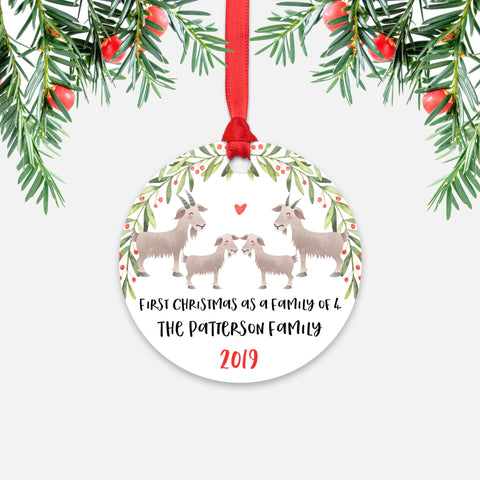 Goat Animal First Christmas as a Family of 4 Personalized Ornament for New Baby Girl Boy - Round Aluminum - Red ribbon