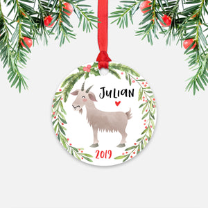 Goat Farm Animal Personalized Kids Name Christmas Ornament for Boy or Girl - Round Aluminum - Red ribbon