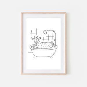 Goat - Farm Animal in Bathtub Wall Art - Funny Bathroom Decor - Black and White Drawing - Downloadable Print