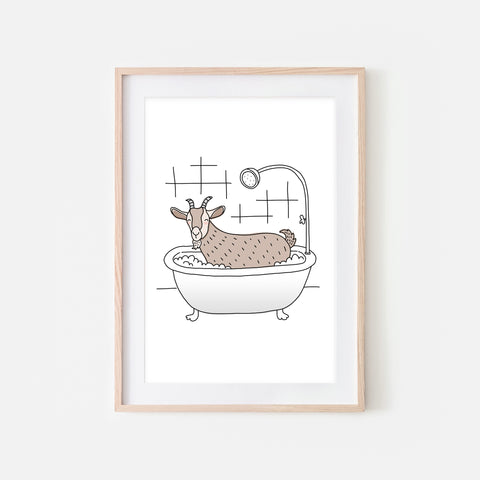 Goat - Animal in Bathtub Art - Funny Farm Theme Bathroom Wall Decor for Kids - Printable Digital Download Illustration