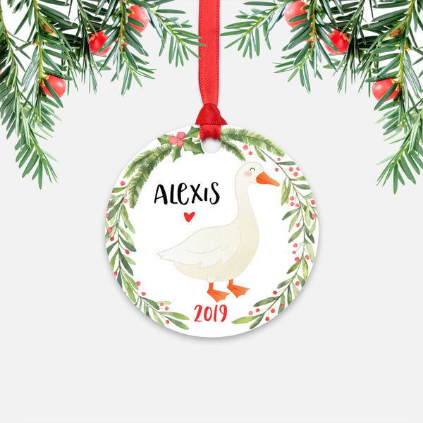 White Goose Farm Animal Personalized Kids Name Christmas Ornament for Boy or Girl - Round Aluminum - Red ribbon